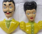 Vintage Wall Art Pair Man and Woman Made of Chalkware, Bust Man and Woman Art, Home Decor