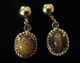 Tiger's Eye Scarab Earrings, Gold Filled Metal, Sam Martino