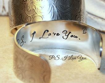 Stamped Bracelet, Hidden Message Bracelet, PS I Love You, Mom, Mother, Inspirational Quote Bracelet, hand stamped