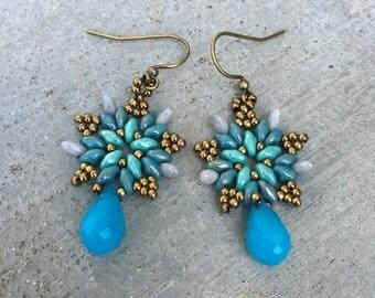 Woven Star Flower Earrings, Blue Crystal Drop Earrings, Brass Bronze, Beaded, Ocean, Mermaid, Fancy Earrings