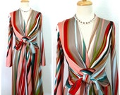 Dress ISSA London Vintage Multicolor silk dress Striped print Wrap dress