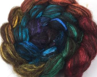 Spinning Fiber - Alpaca & Tussah Silk Combed Top - Dark Chocolate Rainbow roving