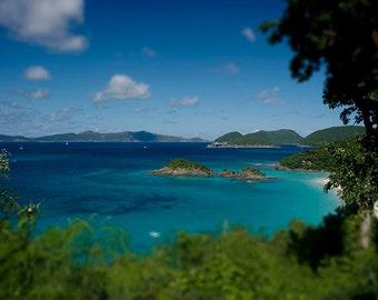 "Beach Photograph, Trunk Bay St John USVI Photography, ""Caribbean Beauty"" Art. Waves, Landscape, Serene, Tropical"