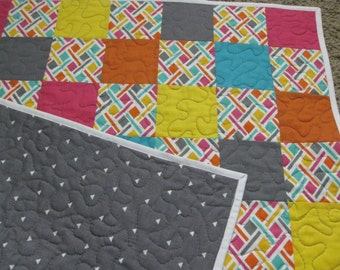 SALE Modern Baby Quilt or Play Mat