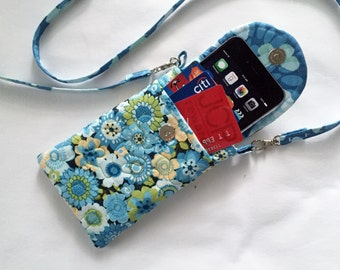 Iphone 6 Case Gadget Case Detachable Neck Strap Small Floral Print Blues Yellow Green