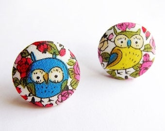 Clip On Earrings / Stud Earrings / Button Earrings - owl earrings