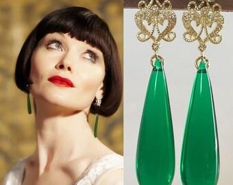 Phryne Fisher Green Gold Art Deco Teardrop Earrings