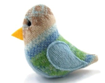Birds of a Sweater Catnip Cat Toy - Blue, Green, and Tan