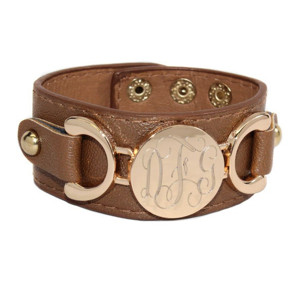 monogrammed leather cuff bracelet by thepreppycroc on etsy
