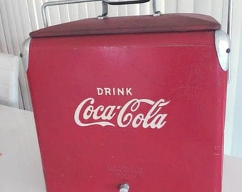 Sale Rare Vintage 50's 60's Drink Coca Cola Metal Cooler with Raised Lettering -- Collectible