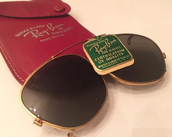 Vintage Dead Stock Ray Ban Aviator Clip On's -- New with Tag and Case