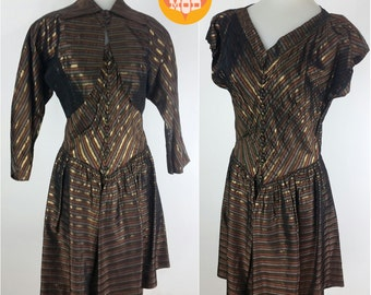 BEAUTIFUL Vintage 50s Metallic Stripe Dress Set with Matching Jacket Coverup! So Stunning in Person!