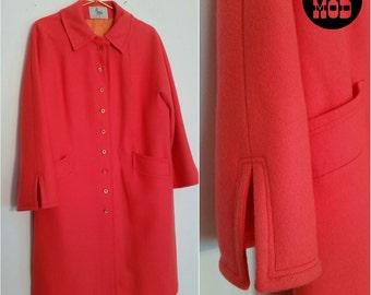 Vintage 60s Mod Neon Coral Orange Wool Pea Coat - So Bright and Amazing!
