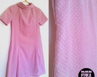 Vintage 60s Pink and White Swiss Dot Mod Dress with Cowl Neckline! Cute!!