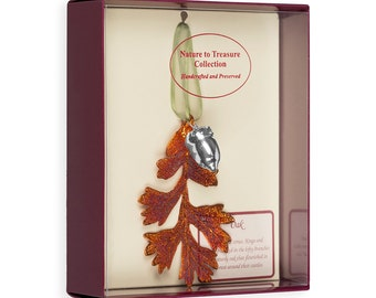 Real Oak Leaf Dipped In Iridescent Copper With Silver Acorn Double Ornaments - Real Dipped Leaves - Christmas Ornaments