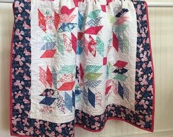 """Crib/Toddler Quilt Aria HANDMADE Patchwork Quilt Minky Moda Kate Spain Butterflies 53x53"""""""