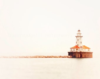 Lighthouse Print, Landscape Photography, Lake Michigan Wall Art - Chicago Photograph, Harbor Light,  red, soft gray, nautical home decor