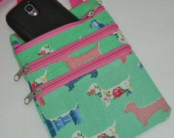 Wiener Dog Dachshund Multi Pouch Messanger Bag with Zippers Mint Green