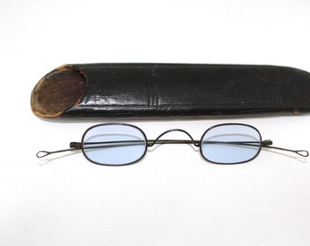 Antique 1800s Sunglasses With Case // Rare Victorian Blue Lens Sunglasses // 19th Century // C1137