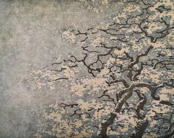 Original Hand Pulled Fine Art Woodblock Print - Tree No. 35 v.ll Limited Edition Moku Hanga Print