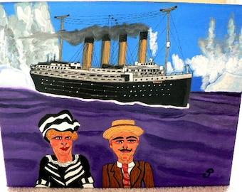 folk art painting titanic tragedy ocean legend naive 11x14 new