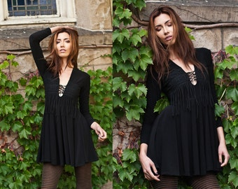 Black Fringe Lace Up Long Sleeve Flowing Mini Dress XS S M L XL