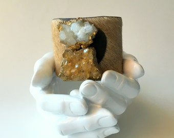 """leather cuff bracelet  - brown hair on hide with raw citrine and crystal  - 2"""" wide"""