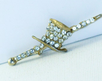 Vintage Clear Rhinestone Art Deco Style Top Hat and Cane Brooch Pin  (B-1-2)