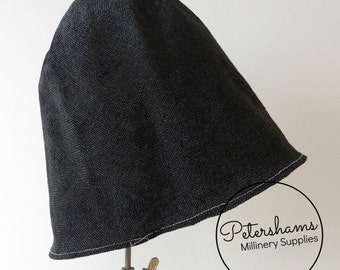Visca Cone Hood Hat Body (Stiffened) for Millinery & Hat Making - Black