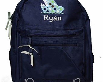 Boys Personalized Backpack, Shark Backpack, Monogrammed, Choose Your Own Colors