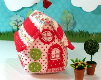 Pincushion Little House Pincushion, Red Dotty Cottage, Ready To Ship
