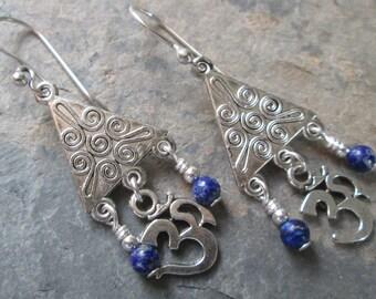 Lapis Lazuli Om Chandelier Earrings ~ Chakra, Boho, Spiritual Jewelry