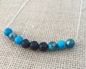 Aromatherapy Essential Oil Diffuser Necklace-Blue Sky Jasper and Lava Healing Property Yoga Jewelry Chakra Healing Jewelry