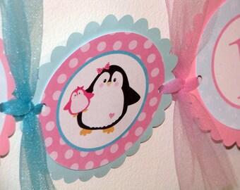Penguin Girl Birthday Banner