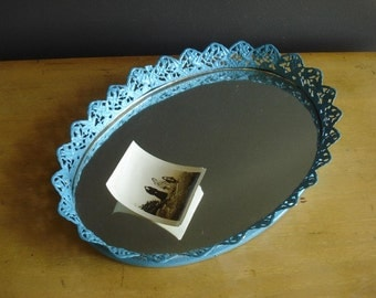 Fairest of Them All - Vintage Blue Oval Dressertop Mirror with Frame - Oval Vanity Mirror