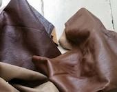 Brown Leather Three Pieces Light Dark & Burgundy On Sale
