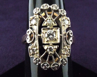 Large Vintage Filigree Diamond Ring Size 6