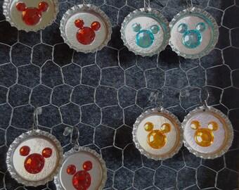 Disney Inspired Mickey Mouse Bottle Cap Earrings, Listing for ONE pair