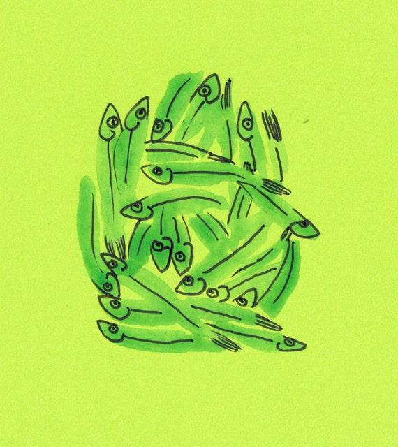 minimalist watercolor print: Monger (green)