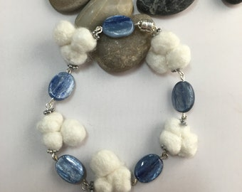 White-Trio Bead and Blue Bracelet