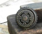 1 salvaged vintage brass drawer knob handle pull Vintage Hardware