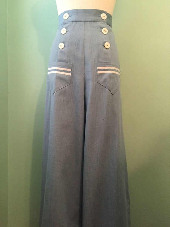 1930s Women's Pants and Beach Pajamas 1930s  1940s vintage style sailor  pants  custom order $125.00 AT vintagedancer.com
