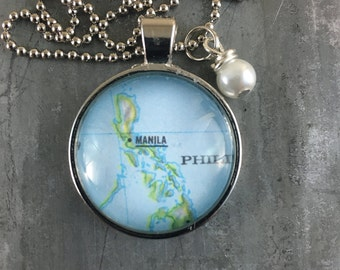 Map Pendant Necklace Manila Phillipines