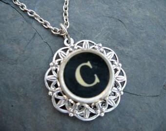 Typewriter Key Jewelry - C charm Necklace