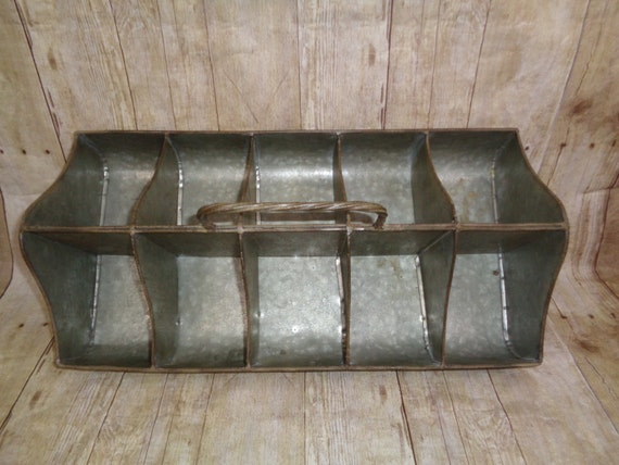 Galvanized Metal Divided Tray Craft Storage Kitchen