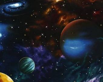 Robert Kaufman - Stargazers - Black Metallic Outer Space Fabric by the yard EKJM60752
