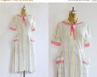 50% OFF SALE NEW - vintage 1950s dress - cotton day dress - candy colored stripes - sailor house dress