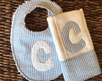 2 letter Up Grade:  Burp Cloth, Baby Bib, Personalized Burp, Custom Burp Cloth, Monogram Burp Cloth, Blue Seersucker Burp, Baby Shower Gift,