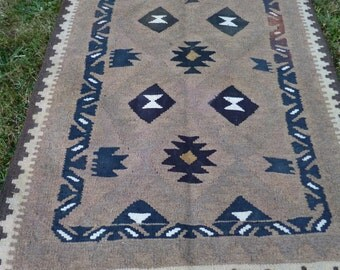 One Small Pretty Rug Wool  Afghan Mat Kilim Tapis Carpet. Hand made 3 ft 4 x 2 ft 4""