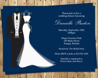 Bridal Shower Invitations, Dress, Tux, Navy, Blue, White, Wedding, Couple 10 Printed Invites with Envelopes, FREE Shipping, SAIDN, Say I Do